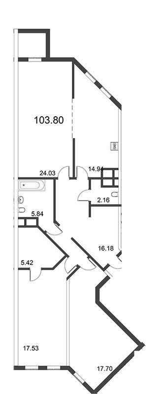 Планировка Трёхкомнатная квартира площадью 103.68 кв.м в ЖК «Усадьба на Ланском»