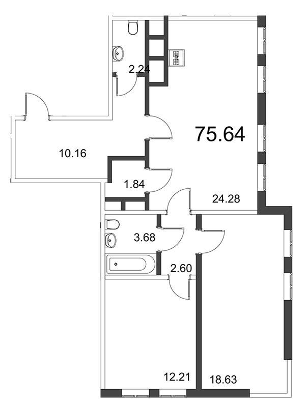 Планировка Трёхкомнатная квартира (Евро) площадью 75.64 кв.м в ЖК «Усадьба на Ланском»