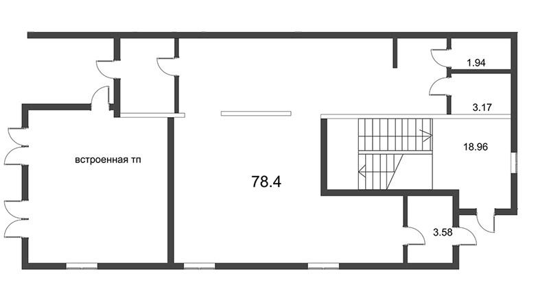 Планировка Коммерческое помещение площадью 79.64 кв.м в ЖК «Усадьба на Ланском»
