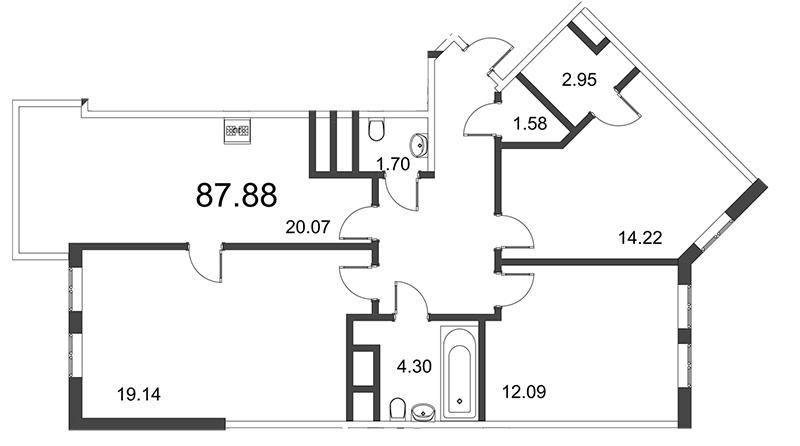 Планировка Трёхкомнатная квартира площадью 87.92 кв.м в ЖК «Усадьба на Ланском»