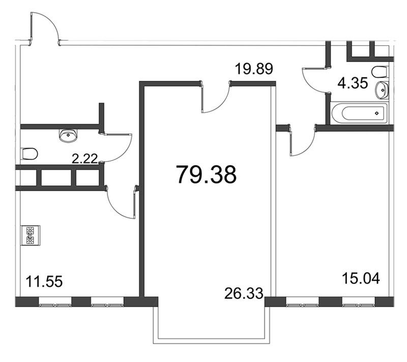 Планировка Двухкомнатная квартира площадью 79.38 кв.м в ЖК «Усадьба на Ланском»