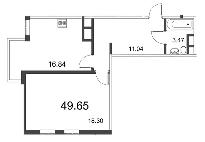 Планировка Однокомнатная квартира площадью 49.7 кв.м в ЖК «Усадьба на Ланском»