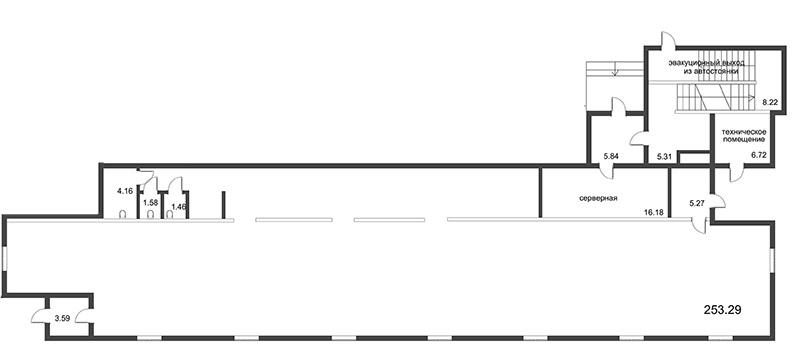 Планировка Коммерческое помещение площадью 253.32 кв.м в ЖК «Усадьба на Ланском»