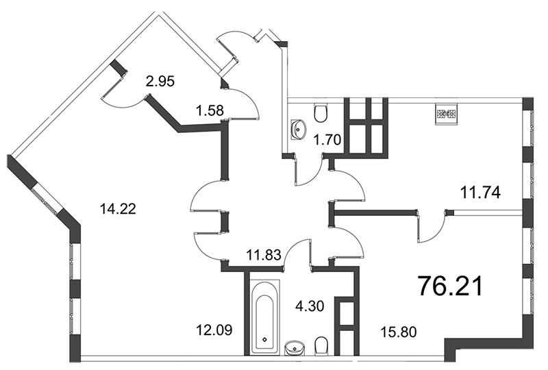 Планировка Трёхкомнатная квартира площадью 76.18 кв.м в ЖК «Усадьба на Ланском»
