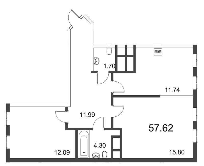 Планировка Двухкомнатная квартира площадью 57.29 кв.м в ЖК «Усадьба на Ланском»