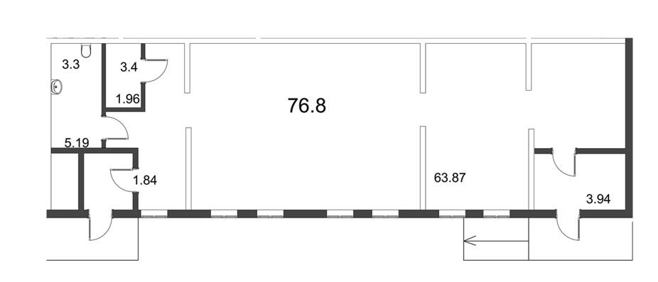 Планировка Коммерческое помещение площадью 76.26 кв.м в ЖК «Усадьба на Ланском»