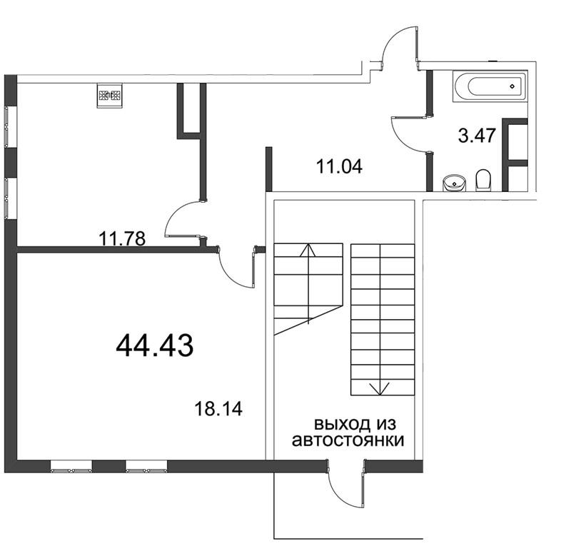 Планировка Однокомнатная квартира площадью 44.48 кв.м в ЖК «Усадьба на Ланском»