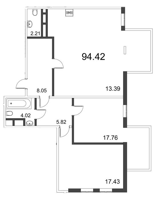 Планировка Трёхкомнатная квартира (Евро) площадью 94.42 кв.м в ЖК «Усадьба на Ланском»