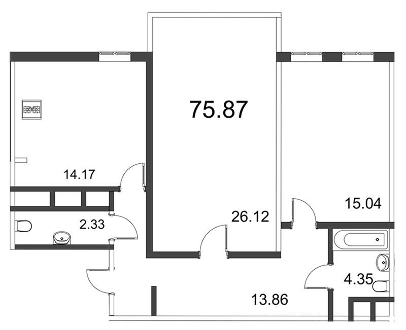 Планировка Двухкомнатная квартира площадью 75.87 кв.м в ЖК «Усадьба на Ланском»